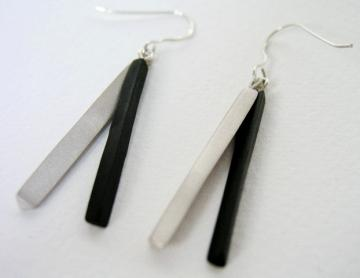 Earrings - Ebony and Silver : $106