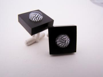 Cuff Links Ebony & Zebra shell : $119