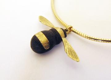 Bumble Bee Pendant Ebony and Solid Gold  CUSTOMITEM : $494