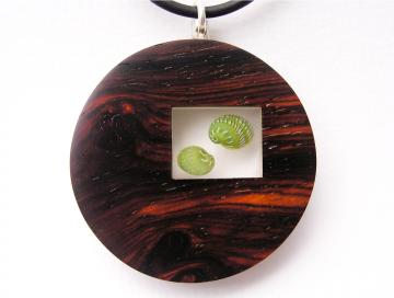 Pendant or Brooch Padauk wood with Emerald Nerites. : $117