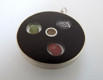 Triptych Pendant Ebony, Silver with Zebra shell, Pink Umbonium and Emerald Nerite : $119