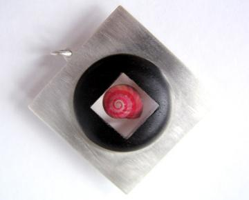 Contemporary Jewellery Pendant Ebony, Silver and pink umbonium : $260