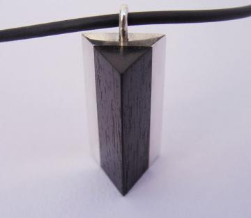 Pendant Ebony and Solid Silver Triangle Pyramid style