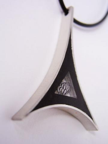 Pendant Ebony, Silver with Zebra Shell triangular tower : $119