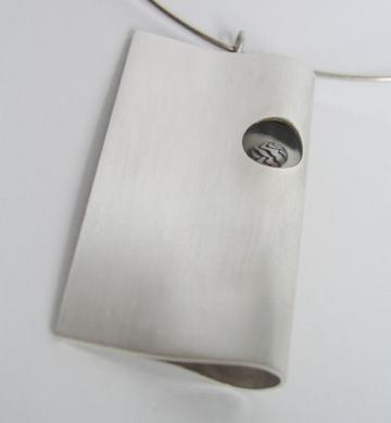Archetechtural Pendant Silver with Zebra shell. : $260