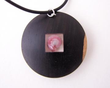 Pendant or Brooch Silver and Ebony with Pink Umbonium : $300