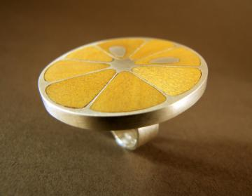 Lemon Slice Ring in Piquia Amerello wood and silver : $475