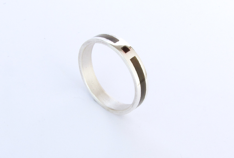 Wedding Ring Silver with Black mother Pearl : Wedding band for men ...