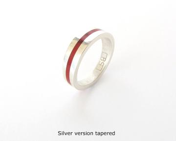 Wedding band Ring - 9ct White gold with Bloody Basin Jasper