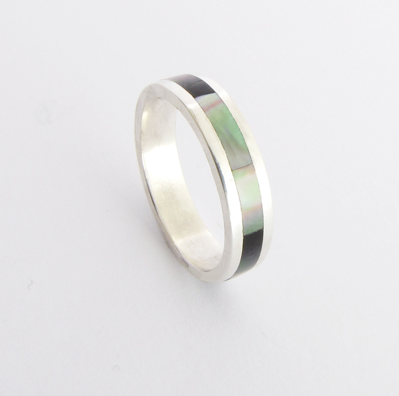 Wedding Band Ring - Silver with Black mother of pearl inlay : Silver ...