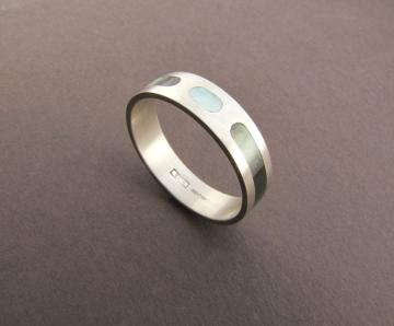 Wedding Band Ring - Silver with Black mother of pearl inlay : $527