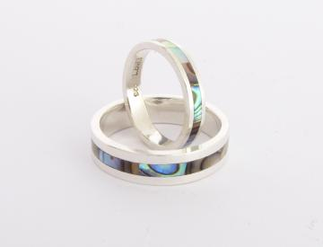 Wedding Band Ring, Solid Silver and Paua Abalone