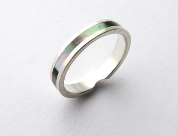 Wedding Set White Gold with Tahitian Pearl with Mother of Pearl Inlay