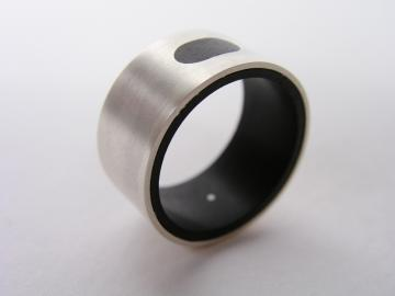 Ring Solid Silver and Ebony modern : $225