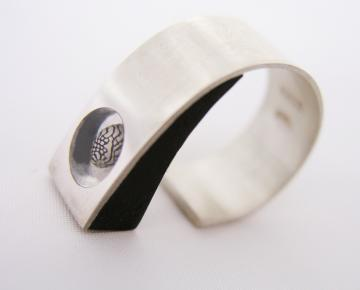 Ring Silver, Ebony & Zebra shell Adjustable to fit : $94