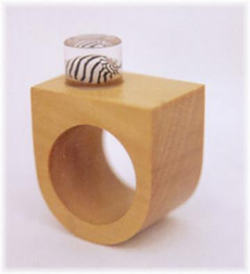 Ring Piquia Amarello with Zebra shell : $32